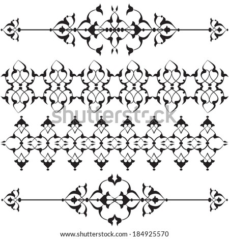 Versions of Ottoman decorative arts, abstract flowers - stock vector
