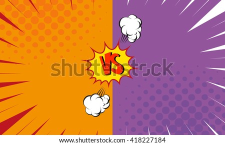 Versus letters fight backgrounds comics style design. Vector illustration - stock vector