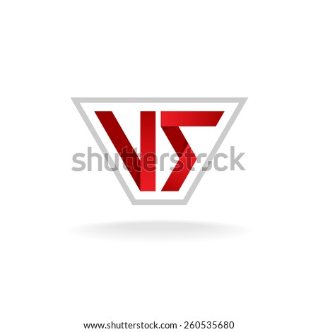 Versus logo. Red VS letters sign in the outline frame. - stock vector