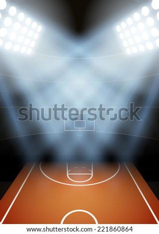 Vertical Background for posters night basketball stadium in the spotlight. Editable Vector Illustration. - stock vector