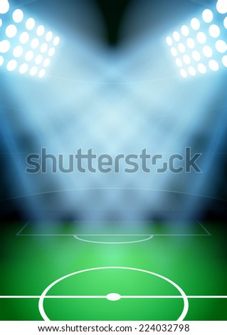 Vertical Background for posters night soccer football stadium in the spotlight. Editable Vector Illustration. - stock vector