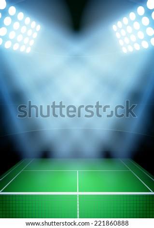 Vertical Background for posters night tennis stadium in the spotlight. Editable Vector Illustration. - stock vector