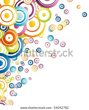 Vertical background with rainbow circles. Vector illustration - stock vector