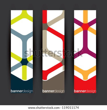 Vertical banner elements in editable vector format