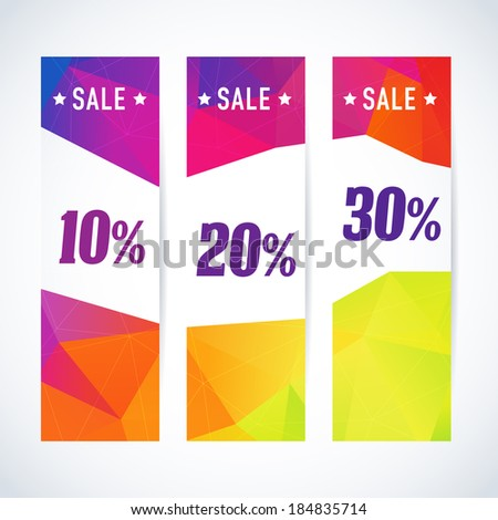 Vertical banner vector set with price discount sale and triangle pattern - stock vector