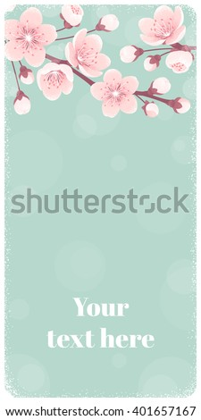 Vertical banner with cherry blossom, spring flowers. Retro vector illustration. Place for your text. Design for invitation, card, poster, flyer, label
