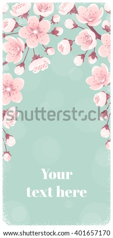 Vertical banner with spring flowers, cherry blossom. Retro vector illustration. Place for your text. Design for invitation, card, poster, flyer, label