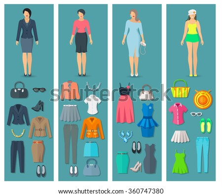 Vertical banners set of woman clothes icons in business cocktail beach and casual fashion styles vector illustration   - stock vector