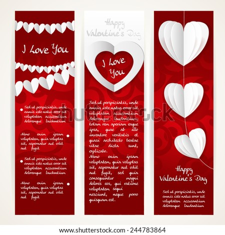 Vertical banners set with garlands of paper hearts for Valentine's Day - stock vector