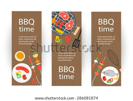Vertical banners set with grill top view, barbecue and grilled food set, vector illustration - stock vector