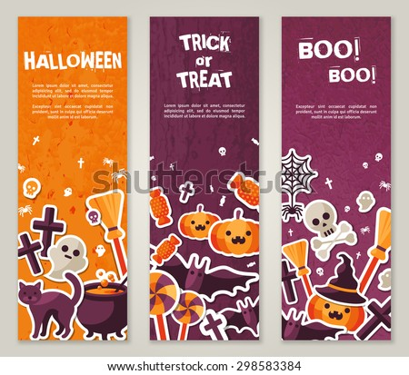 Vertical Banners Set with Halloween Symbols. Vector Illustration. Orange Pumpkin and Spider Web, Witch Hat and Cauldron, Skull and Crossbones. - stock vector