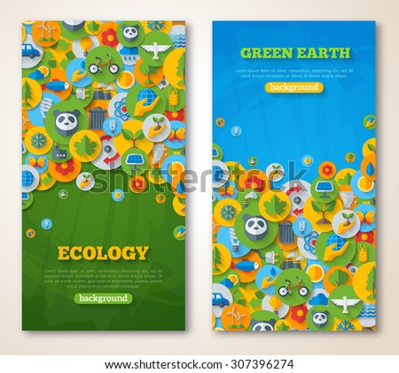 Vertical Banners Set with Icons of Ecology, Environment, Green Energy and Pollution. Save world. Save the planet. Save the Earth. Creative concept of Eco Technology. Environmental protection. - stock vector