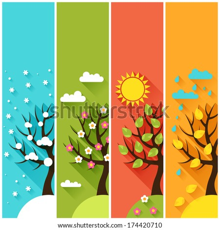 Vertical banners with winter, spring, summer, autumn trees. - stock vector
