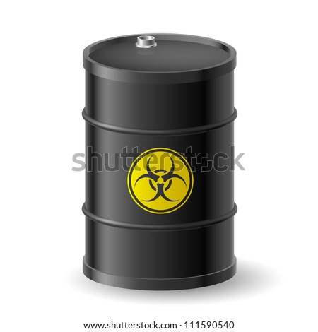 Vertical Biohazard black barrel. Illustration on white - stock vector