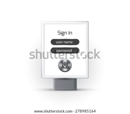 Vertical blank lightbox, sign in password security - stock vector
