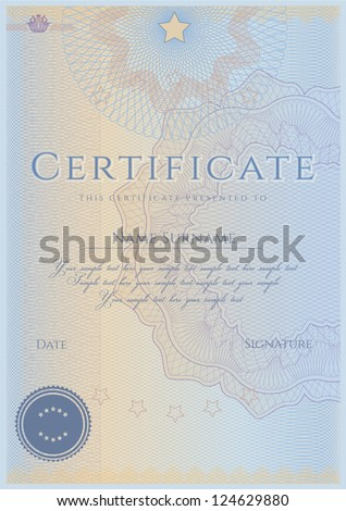 Vertical blue certificate of completion template with guilloche pattern (watermarks). This design usable for diploma, invitation, gift voucher, coupon, official or different awards. Vector - stock vector