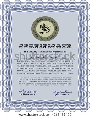 Vertical blue certificate or diploma template with sample text