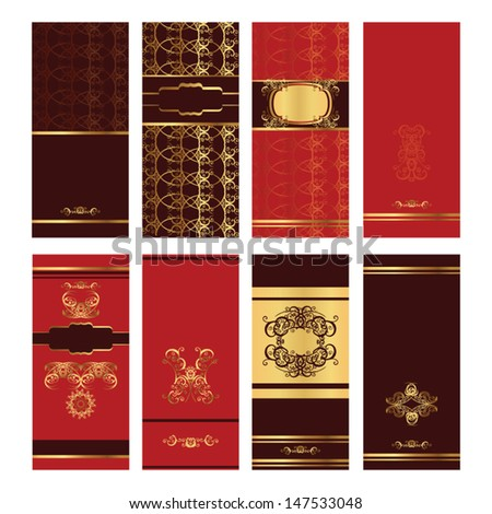 Vertical brown and red golden invitation post cards  - stock vector