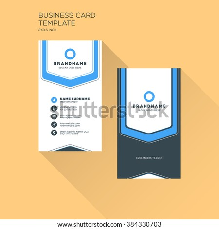 Vertical Business Card Print Template Personal Stock Vector - Personal business cards template