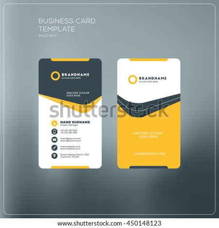 Vertical business card print template personal stock vector vertical business card print template personal business card with company logo black and yellow cheaphphosting Gallery