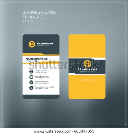 Vertical business card print template personal stock vector 2018 vertical business card print template personal business card with company logo black and yellow colourmoves Gallery