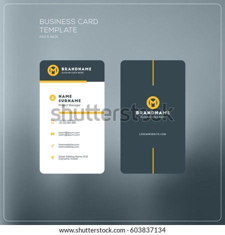 Vertical Business Card Print Template Personal Stock Vector - Business card vertical template