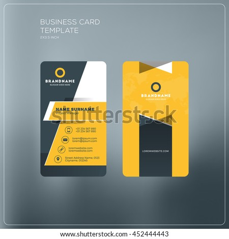 Vertical business card template company logo stock vector 452444443 vertical business card template with company logo two sided business card mock up with reheart Gallery