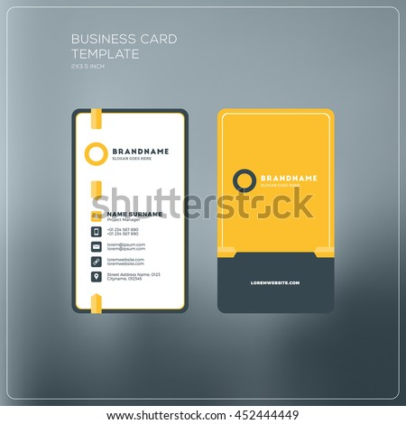Vertical Business Card Template Company Logo Stock Vector - Two sided business card template