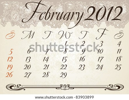 Vertical calendar 2012 year February - stock vector