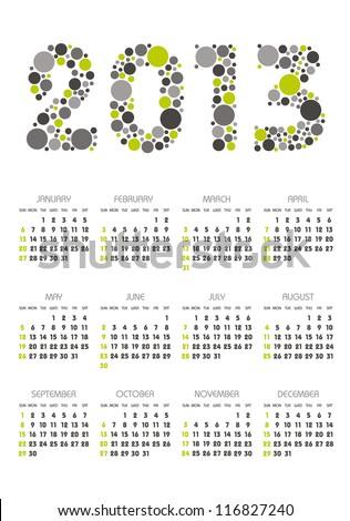 vertical calendar 2013 year with retro dots theme - stock vector