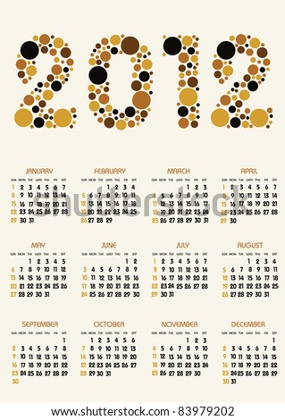 vertical calendar 2012 year with retro dots theme - stock vector