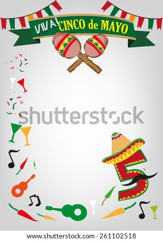Vertical Cinco de Mayo celebration template poster design with Mexican design elements. Editable EPS10 Vector Illustration and jpg. - stock vector