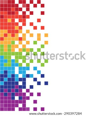 Vertical colorful pixels - stock vector