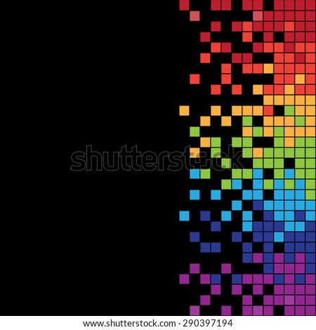 Vertical colorful pixels with black background - stock vector