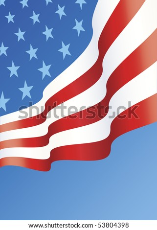 Vertical design of American Flag layout with copy space below - stock vector