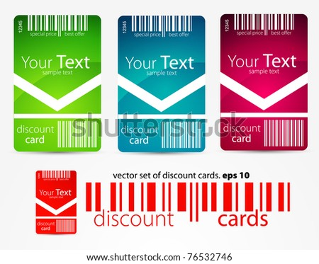 Vertical discount color cards - stock vector
