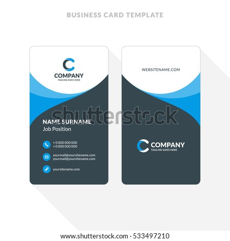 Vertical doublesided business card template blue stock vector vertical double sided business card template blue and black colors flat design vector flashek Gallery