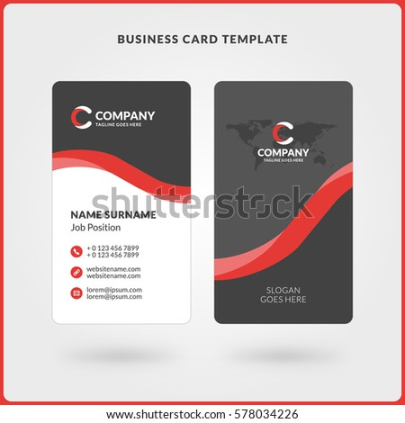 Vertical Doublesided Business Card Template Red Stock Vector Hd