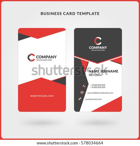 vertical doublesided business card template red stock vector 578035063 shutterstock. Black Bedroom Furniture Sets. Home Design Ideas