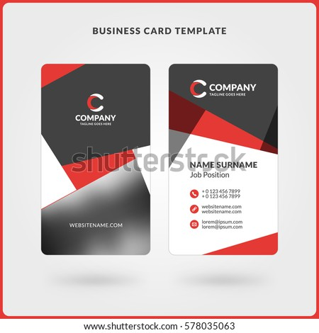 Vertical doublesided business card template red stock vector vertical double sided business card template red and black colors flat design vector accmission Choice Image