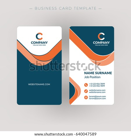 Vertical Doublesided Business Card Template Vector Stock Vector - Double sided business card template