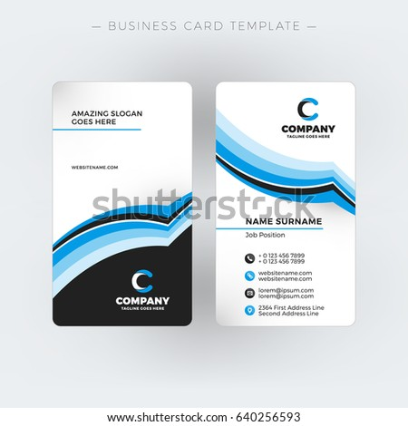 Vertical Doublesided Business Card Template Vector Stock Vector HD - Free double sided business card template