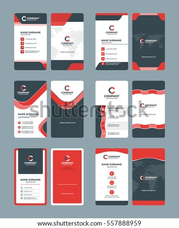 Vertical doublesided business card templates stationery stock vector vertical double sided business card templates stationery design vector set red and black spiritdancerdesigns Gallery
