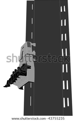 Vertical Drop Ride (side view) - stock vector