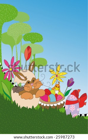 Vertical easter vector design with Bunny in a egg in floral spring landscape