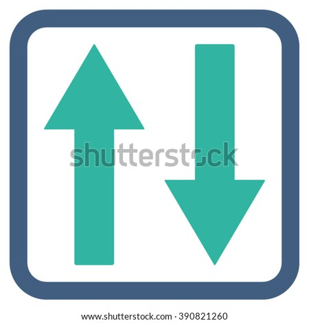 Vertical Flip Arrows vector icon. Style is bicolor flat symbol in a rounded square frame, cobalt and cyan colors, white background.