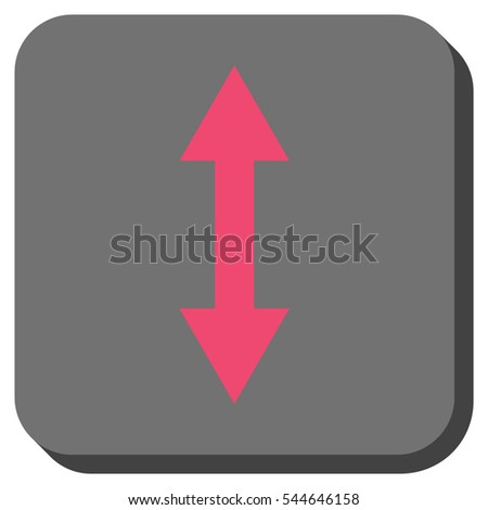 Vertical Flip vector icon. Image style is a flat icon symbol inside a rounded square button, pink and gray colors.