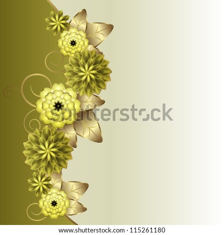 Vertical floral vignette - stock vector
