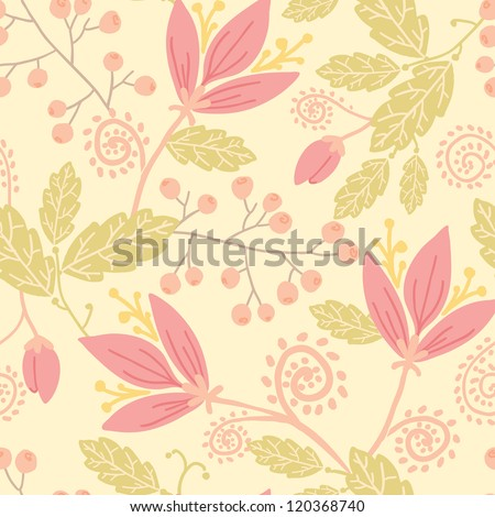 Vertical flowers and berries seamless pattern background with hand drawn fruit shapes. - stock vector