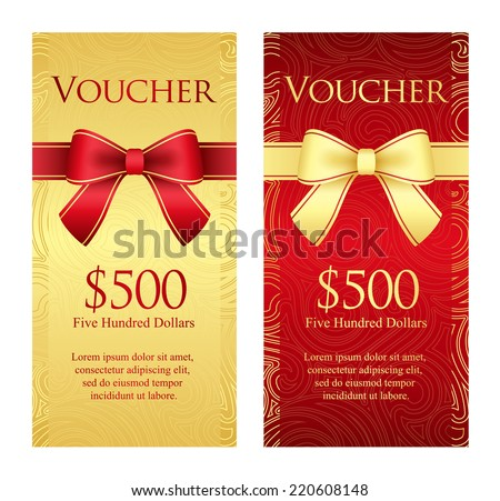 Vertical gold and red voucher with ribbon and swirl pattern - stock vector